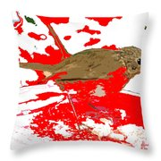 Robin And Snow Throw Pillow