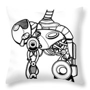 Robot Charging Throw Pillow