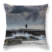 Rock Ledge, Spear Fishermen And Cloudy Seascape Throw Pillow