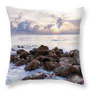 Rocky Beach At Sunset Throw Pillow by Brian Jannsen