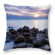 Rocky Beach At Sunset II Throw Pillow by Brian Jannsen