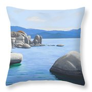 Rocky Cove On Lake Tahoe Throw Pillow
