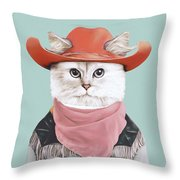 Rodeo Cat Throw Pillow
