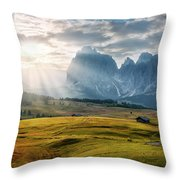 Rolling Hills Of Alpe Di Siusi Throw Pillow by Dmytro Korol