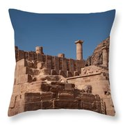 Roman Temple In Petra Throw Pillow