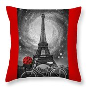 Romance At The Eiffel Tower Throw Pillow