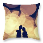 Romantic Couple Kissing On Illuminated Background. Throw Pillow