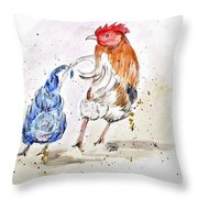 Rooster Butts Throw Pillow by Clyde J Kell