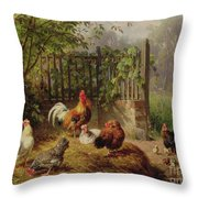Rooster With Hens And Chicks Throw Pillow