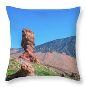 Roque Cinchado In Front Of Mount Teide Throw Pillow