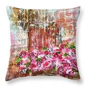 Rose Bundle With Copper Pot Throw Pillow