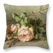 Roses, 19th Century Throw Pillow
