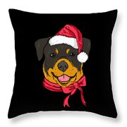 Rotweiler Xmas Hat Dog Pet Lover Christmas Throw Pillow