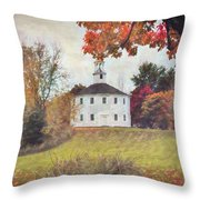 Round Church In Vermont Autumn Throw Pillow by Jeff Folger