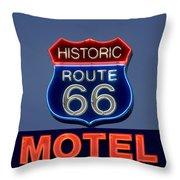 Route 66 Motel Throw Pillow