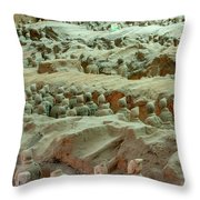 Rows Of Terra Cotta Warriors In Pit 1 Throw Pillow