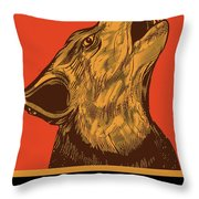 Rubino Wolf Dog Love One World Throw Pillow