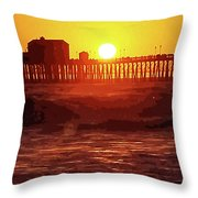 Ruby Sunset Oceanside Pier Throw Pillow