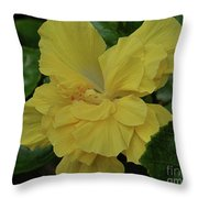 Ruffled Yellow Hibiscus Throw Pillow by Patricia Strand
