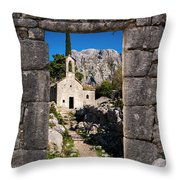 Ruins In Kotor, Montenegro Throw Pillow