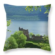 ruins of castle Urquhart on loch Ness Throw Pillow