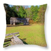 Rustic Double Crib Barn And Split Rail Fence In Cades Cove Throw Pillow