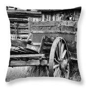 Rustic Horse Drawn Cart Throw Pillow
