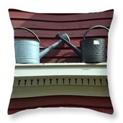 Rustic Watering Cans  Throw Pillow