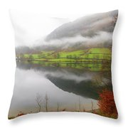 Rydal Water On A Misty Day In December Throw Pillow