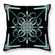 Sacred Circle Design In Blues And White Throw Pillow