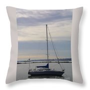 Sailboat In The Bay Area Throw Pillow