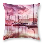 Sailboat Reflections At Sunrise Abstract Throw Pillow