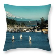 Sailboats At Gig Harbor Marina With Mount Rainier In The Background Throw Pillow