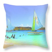Sailboats At Sandy Ground In Anguilla  Throw Pillow
