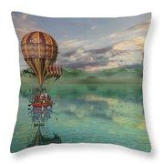 Sailing Away Daydream Steampunk Throw Pillow