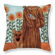 Saint Francis And The Wolf Of Gubbio Throw Pillow