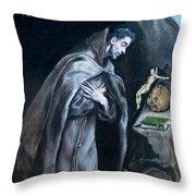 Saint Francis Kneeling In Meditation Throw Pillow
