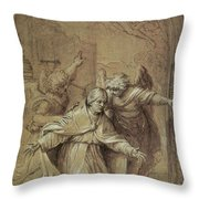 Saint Gregory Praying For Souls In Purgatory  Throw Pillow