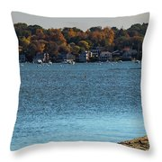 Salem Derby Wharf Lighthouse Flooded Throw Pillow by Jeff Folger