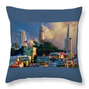 Salesforce Tower Coit Tower Transamerica Pyramid Throw Pillow