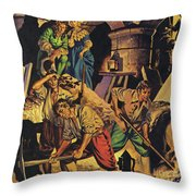 Samuel Pepys Searching For A Hoard Of Money Supposedly Hidden In The Tower Of London Throw Pillow
