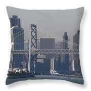 San Francisco Past The Bay Bridge Throw Pillow