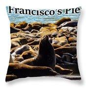 San Francisco's Pier 39 Walruses 2 Throw Pillow