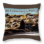 San Francisco's Pier 39 Walruses 2 Throw Pillow