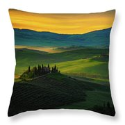 San Quirico D' Orcia At Sunrise Throw Pillow by Chris Lord