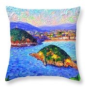 San Sebastian Spain Modern Impressionism Textural Impasto Knife Oil Painting By Ana Maria Edulescu Throw Pillow