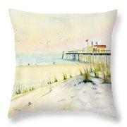Sand Dunes At Ocean City Beach Maryland Throw Pillow