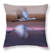 Sandhill Cranes Flying Over Lake Throw Pillow