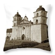Santa Barbara  Mission From The Roof Of Majordomo's Adobe Circa  Throw Pillow by California Views Archives Mr Pat Hathaway Archives