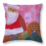 Santa Claus And Guardian Angel - Pintoresco Art By Sylvia Throw Pillow